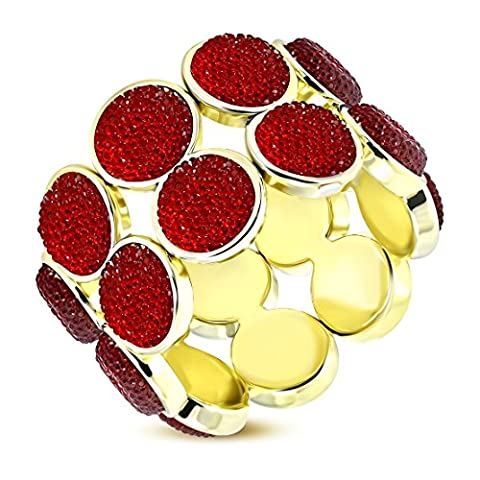 Fashion Alloy Deco Row of Glitter Red Round Rhinestone Wide Stretch Bangle Length: 9