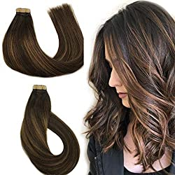 Labhair Tape In Hair Extensions Balayage Dark Brown Color #2 Fading to #6 and #2 Highlighted Remy Human Hair 50g 20pcs/Package 16inch