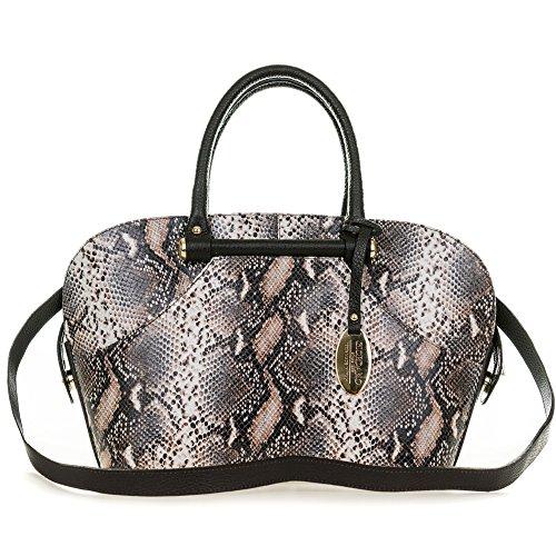Giordano Italian Made Brown Python Print Leather Tote Handbag
