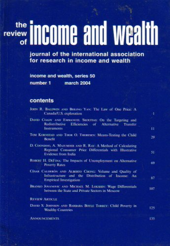 The Review of Income and Wealth: Series 50, Number 1, March 2004 (Journal of the International Association for Research in Income and Wealth)