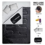 POHOMA Double Sleeping Bag(Queen Size)5 IN 1-Best New 2018 Weather-Resistant Technology Perfect for Camping Hiking and Backpacking;Includes 100%Silk Sleep Mask,Foam Ear Plugs,2 Pillows and Carry Bag For Sale