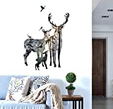 wall decals BIBITIME Forest Silhouette Deer Wall Decal Animal Birds Elk Vinyl Stickers for Living Room Porch/Bedroom/Kids room
