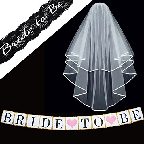 [Bachelorette Party Decorations Supplies – SASH ~ VEIL BANNER Kit – Black Lace Embroidered Bride to Be Sash – Classy Wedding VEIL + Comb ~ Bridal Party Games Shower Favors + Bachorlette Night Banner] (Black Bridal Veil Costume)