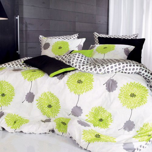 Lime Green Floral Duvet Cover Set 1100tc - Queen