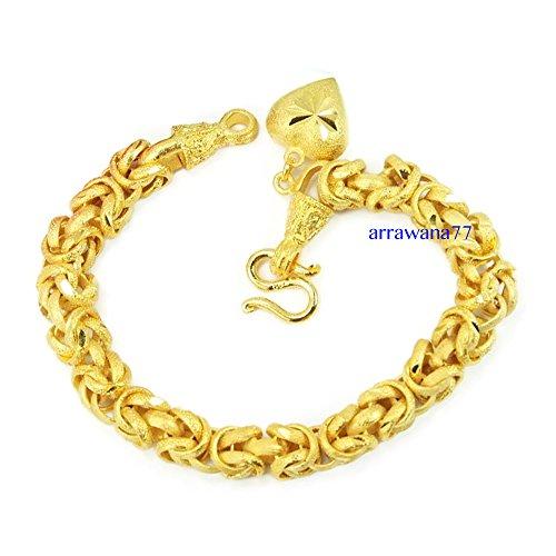 arrawana77 Bracelet with Heart Charm 22K 23K 24K Thai Baht Jewelry Yellow Gold Plated 7 Inch Free Earrings (Hearts 23 Charm Bracelet)