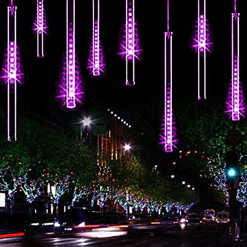 YSIM Meteor Shower Rain Lights,Ultra Bright Romantic Lights for Party, Wedding, Christmas, etc.11.8inch 8 Tubes(Purple)