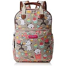 Biba Dog Cupcake Party Print Essex Backpack School Bag & Tablet Case in Grey - SWANKYSWANS
