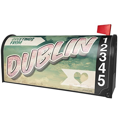 NEONBLOND Greetings from Dublin, Vintage Postcard Magnetic Mailbox Cover Custom -