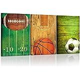 Kreative Arts - Vintage Sports Themed Canvas Wall Art Set of 3 Baseball Basketball Soccer Football Poster Photo Prints for Boys Bedroom Décor Ready to Hang 16x24inchx3pcs