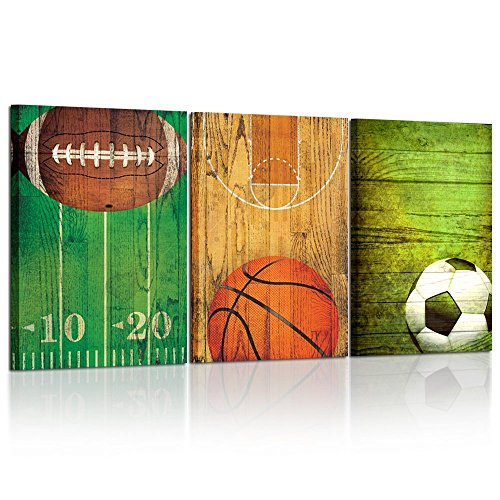 Kreative Arts - Vintage Sports Themed Canvas Wall Art Set of 3 Baseball Basketball Soccer Football Poster Photo Prints for Boys Bedroom Décor Ready to Hang 16x24inchx3pcs