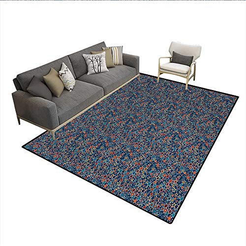 Carpet,Graphical Abstract Star Figures Randomly Scattered on a Blue Backdrop,Area Silky Smooth Rugs,Blue Marigold Burnt SiennaSize:6'x8'
