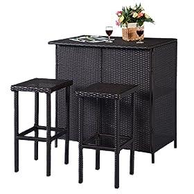 Tangkula 3 Piece Patio Bar Set Rattan Wicker Bar Stools & Table for Lawn Pool Backyard Garden Di