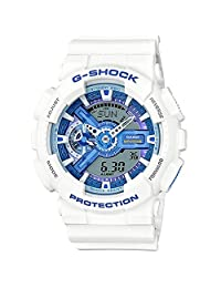 Casio GA110WB-7ACR Men's White Tough Resin Band Blue Dial Watch