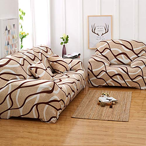 DishyKooker Elastic Sofa Protector Slipcovers Non-Slip Printing All-Inclusive Sofa Seat Case for Living Room Bird's nest Three-Seater (195-230)