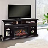 "Tangkula Fireplace TV Stand 62"" Home Living Room Wooden Media TV Stand Fireplace with glass doors"