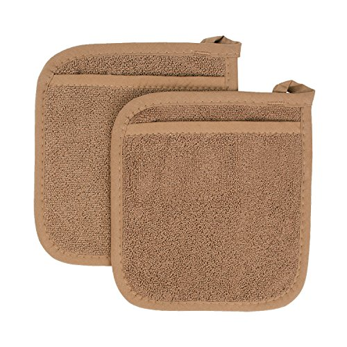 Ritz Royale Collection 100% Cotton Terry Cloth Pocket Mitt Set, Dual-Function Hot Pad/Pot Holder, 2-Piece, Mocha Brown ()