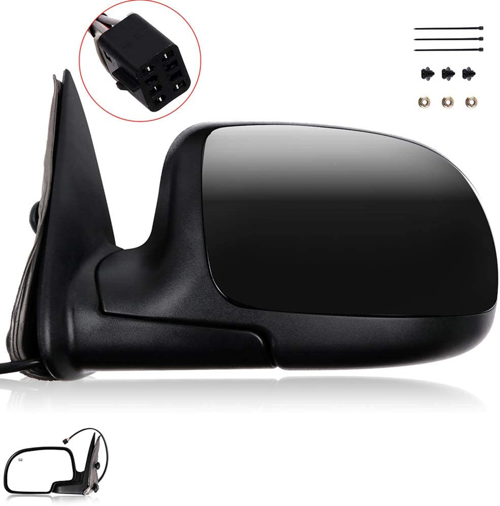 ROADFAR Black Left Side View Mirror Power Adjustment Manual Folding Fit Compatible with 2002 Chevy Avalanche 1500//2500 2000-2002 Chevy Suburban 1500//2500 Chevy Tahoe GMC Yukon 15172249 GM1320174
