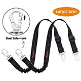 iBuddy Dog Seat Belts Cars Medium/Large Dogs, Adjustable Pet Seat Belt Dog Harness Dual Safe Bolt Hook Elastic Durable Nylon Dog Safety Belt Car (2 Pack)