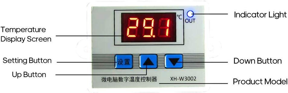 Leepesx XH-W3002 Intelligent Led Num/érique Contr/ôleur De Temp/érature De Micro-ordinateur Thermostat Commutateur Avec Sonde De Capteur /Étanche