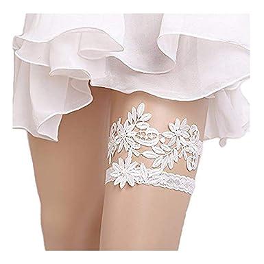c096ade00 Elastic Floral Garter Set Wedding Bridal Thigh Belt Bands Women Hen Party  Garters (White)  Amazon.co.uk  Clothing