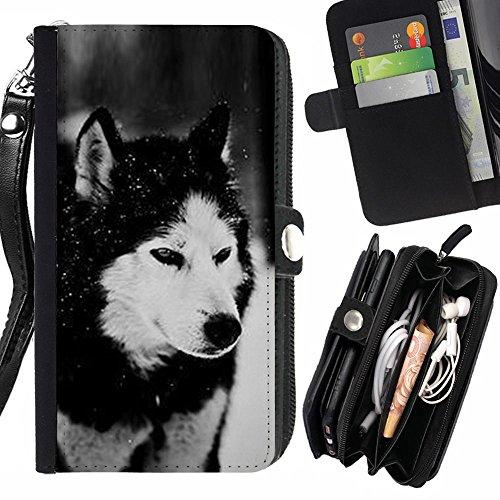 [SHIMIN FOR LG X POWER dog Siberian husky Alaskan malamute winter pet animal Zipper Wallet With Strap Card Holder Case Cover] (Alaskan Malamute Power Dog)