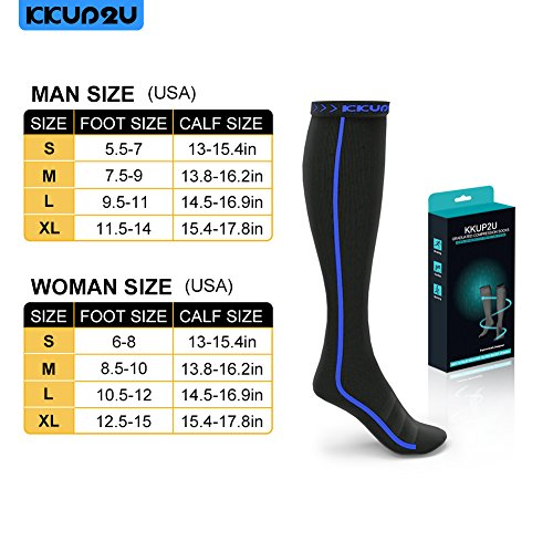 KKUP2U Compression Socks Knee High & Calf High Rainbow Stripe, Graduated Gradient 20 30mmHg for Athletic, Nurses, Running, Flight, Edema, Diabetic, Varicose Veins