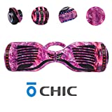 Chic Hoverboard with Handle, Bluetooth Speaker and LED Lights Self Balancing 6.5' 2 Wheel Electric Scooter Hover Hoover Board with Certified UL 2272 for Adults and Kids, Free Bag HB-ER6-GALAXY