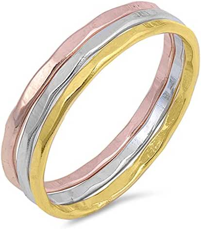Rose Gold-Tone Hammered Stackable Ring Set .925 Sterling Silver Band Sizes 4-10