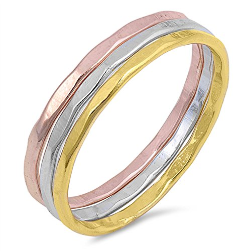 Rose Gold-Tone Hammered Stackable Ring Set .925 Sterling Silver Band Size 8 by Sac Silver