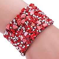 AutumnFall Women Bohemian Crystal Magnetic Clasp Bracelets Wrist Chains (Red)