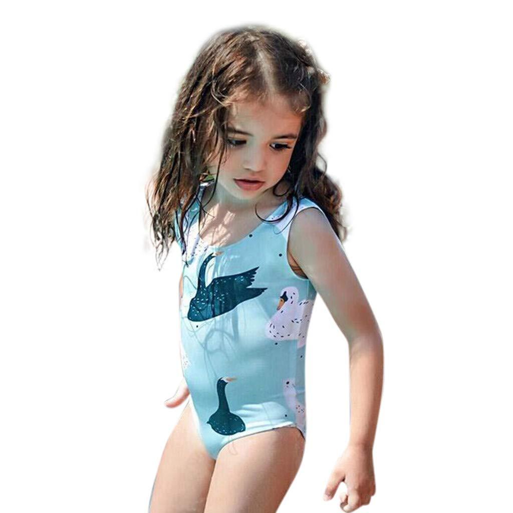 Elogoog Girls One Piece Monokini Swimsuit Swan Print Novelty Swimwear Bathing Suit 12M-4Y