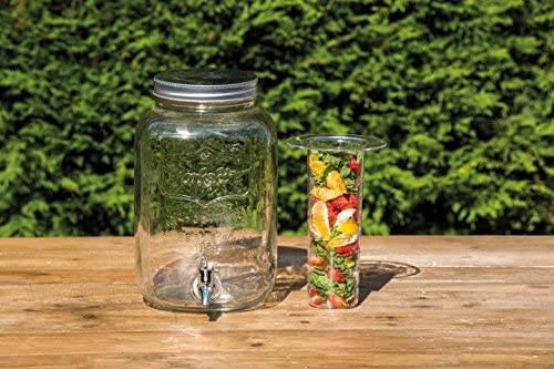 Kitchen Craft Home Made – Tarro de Cristal dispensador de Bebidas con infusor de Agua, 7,5 litros, Transparente
