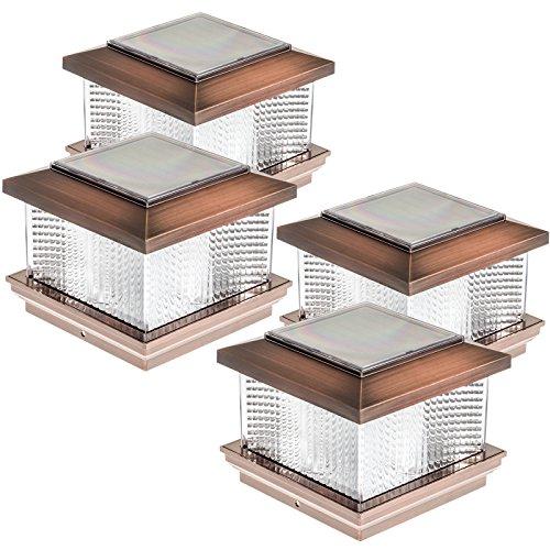((4 Pack) GreenLighting Solar LED Post Cap Light for 5