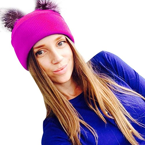 gbsell-women-winter-removable-two-ball-knitting-beanie-hip-hop-cap-ski-hat-hotpink
