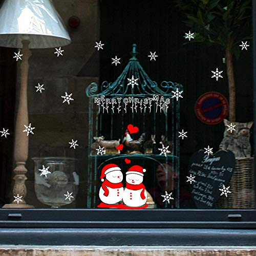 Dolloress Home & Kitchen ⭐ Merry Christmas Snowmans Snowflake Wall Stickers Shopping Mall Restaurant Showcase House Glass Window Decoration PVC Removable Stickers