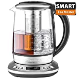 Electric Kettle, Willsence KT-S1 Electric Kettle Temperature Control Tea Kettle Stainless Steel Glass Water Kettle Cordless with Removable Tea Infuser, 1.7 L, 1200W, LCD Display