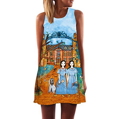 (Rmeioel^ Womens Dress Summer O-Neck Boho Sleeveless Floral Printed Beach Mini Dress Casual T-Shirt Short Dresses)