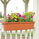 Apollo Adjustable Railing Planter - 32 Inches, Terra Cotta