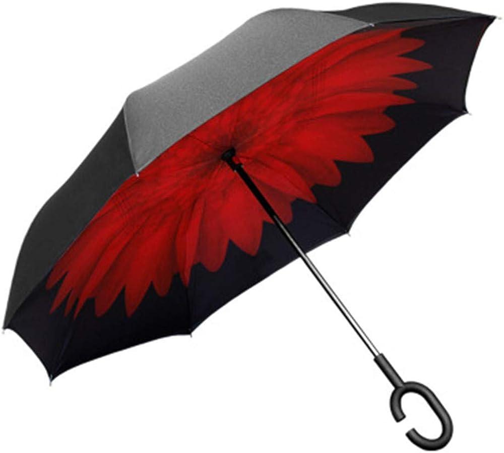 Paraguas automático creativo de doble capa invertida, manos libres, para coche, soleado, mango largo, paraguas de coche (solo contiene un paraguas)