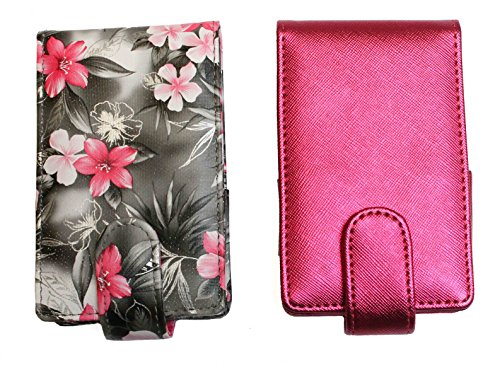 2 Pack Lipstick Lip Gloss Pouch and Carrying Case, each one holds 4 regular sized tubes of lipstick or LipSense (Gray with Pink Floral & Hot Pink (Lip Case)