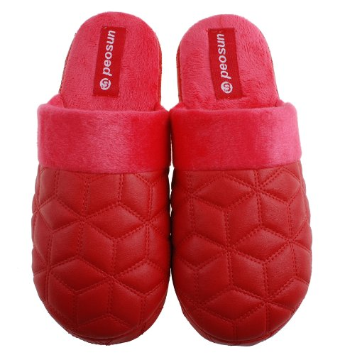 Colorfulworldstore Indoor home Cotton slippers-soft Fight PU leather+Embroidered Lingge floor slippers for man&women's Women-Red