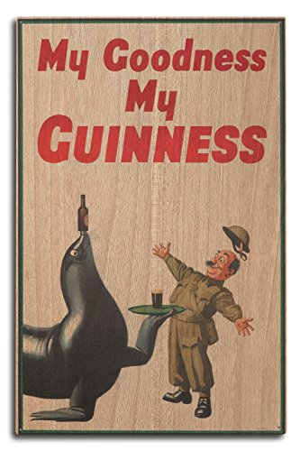 My Goodness My Guinness Vintage Poster (Artist: Gilroy) UK c. 1936 (10x15 Wood Wall Sign, Wall Decor Ready to Hang)
