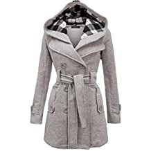 Envy Boutique Womens Military Button Hooded Fleece Belted Jacket One Size