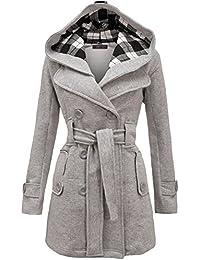 Women's Military Button Hooded Fleece Belted Jacket