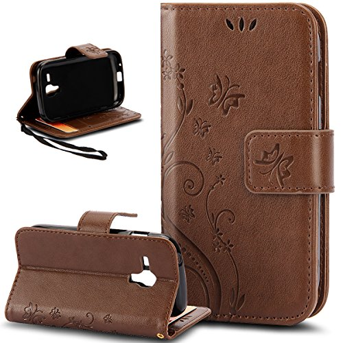 Galaxy S Duos Case,Galaxy S Duos 2 Case,NSSTAR Butterfly Flower PU Leather Fold Wallet Pouch Wallet Flip Stand Credit Card ID Holders Case Cover for Samsung Galaxy S Duos S7562 / S Duos 2 S7582,Coffee (Samsung S7582 Galaxy S Duos 2)