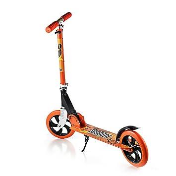 Scooter Para Niños, OUTAD Patinete Plegable Ruedas grandes 200mm con altura ajustable y carga máxima 100 kg, Naranja