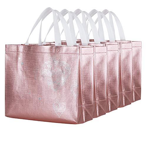 Wedding Gift Bags Ideas (Gesodant Bling Glossy Glitter Durable Reusable Grocery Bag Tote Bag Handles Bag,Medium Non-woven Fashionable Present Bag Gift Bag,Goodies Bag Shopping Bag,Promotional Bag,Totes,Set Of 5 -)