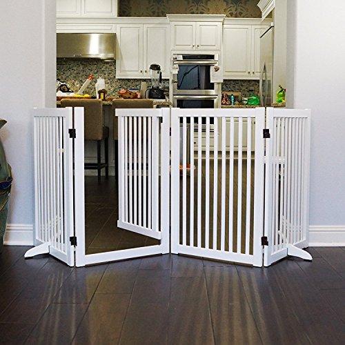 WELLAND Freestanding Wood Pet Gate w/ Walk Through Door, 88-Inch, White by WELLAND (Image #8)