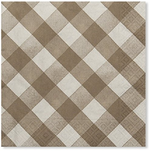 Sophistiplate Disposable Taupe Beige Gingham Paper 3-ply Napkins (Pack of 60) for Birthdays, Holidays, Parties, Showers, Picnics & Special Events and Entertaining ()