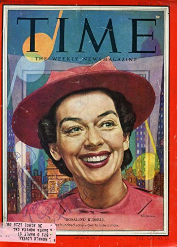 ROSALIND RUSSELL PSA DNA Coa Hand Signed 8X10 TIME Cover Autograph Authenticated